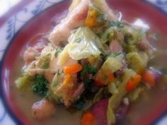 Chicken with peppers and cabbage - Poulet aux poivrons et au chou - Tasca da Elvira