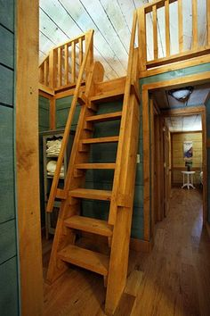 loft ladder for the side loft & I love the idea of reclaiming an attic someday for a loft area ...