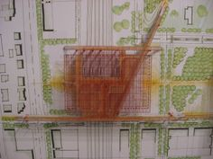 renzo piano, plan mix of model and print