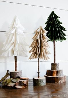 These little rustic trees are super easy to make and cost next to nothing, thanks to mother nature. Search for a Christmas tree template you like and download it. Print it out then used a scanner to resize it down to three different sizes if needed. Fold the template in half then fold the felt...
