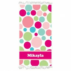 Personalised Beach Towel - Polka Dots