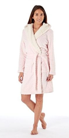c4a1b1608c Ladies Textured Fleece Sherpa Lined Hooded Bath Robe  Pink