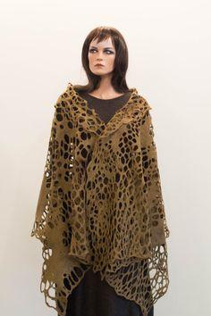 Felted khaki lace shawl net luxury all season scarf felt