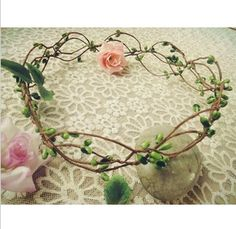 Handmade wedding Bridal Hair Accessory, Party Woman Berry cane Wreath Fashion Girls headband $5.63