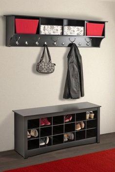 "Hanging Entryway Shelf With Hooks Organizer Coat Rack Storage Wall Mounted 60"" #Everett"