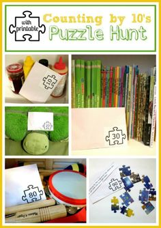 Increase the fun and learning of puzzles by turning it into a scavenger hunt that sneaks in counting practice! Here's two printables and sample clues to get you started!