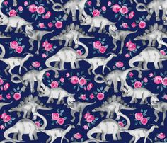 Dinosaurs and Roses on Navy Blue large print fabric by micklyn on Spoonflower - custom fabric
