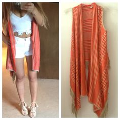 Orange and tan vest cardigan Size x-small. Worn once. Sweater material :) super cute bought from Macy's. Tops