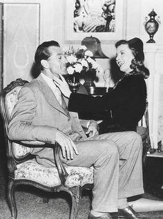 "Gary Cooper and Barbara Stanwyck on the set of ""Meet John Doe"", 1941"