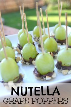 Are you looking for an easy dish to bring to a party? These Nutella Grape poppers are juicy, salty, and delicious! They only take 5 minutes to make! I don't make a huge food shopping trip every week. But at least once a week, I head to Fruit Appetizers, Finger Food Appetizers, Appetizers For Party, Finger Foods, Appetizer Recipes, Vegetable Appetizers, Chicken Appetizers, Appetizers Easy Cold, Toothpick Appetizers
