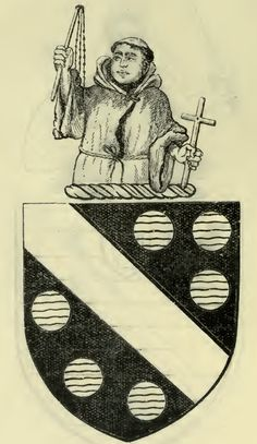 Stourton, with Crest, from the Coat of Arms of the Nobility & Gentry of Yorkshire by J. Horsfall Turner (1911).   Blazon - Sable, a bend or, between six sikes or fountains proper. Crest - A demi-grey Friar.