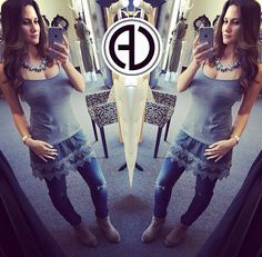 """So difficult to work here at times !! I want to buy EVERYTHING  In Love With Our Just In Top !!! SEARCH • Layering Tank (Also Available in Black) • Slit Knee Jeans •Twisted Cross Ring •Clara Necklace  USE PROMOCODE """"FREESHIP""""  Shop: www.aliciadimichele.com"""