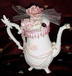 Teapot handmade Valentine Shabby, Roses, Cottage...
