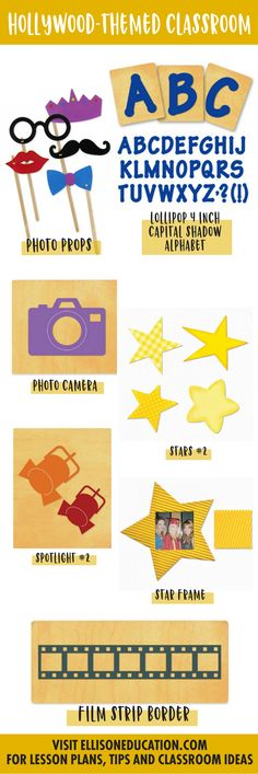 Make your kiddos shine with this Hollywood inspired theme. Create these cute Photo Props to take the best (and silliest) pictures to fill the Star Frame with. Make a star-studded bulletin board with our Lollipop Shadow Alphabet, Film Strip Border, and Stars 2 dies. And don't forget to shine a little spotlight on good work with our Spotlight #2 and Photo Camera dies to really complete the look.