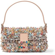 Fendi Baguette embellished satin-twill shoulder bag (107.102.885 IDR) ❤ liked on Polyvore featuring bags, handbags, shoulder bags, pink, cell phone purse, white satin purse, white purse, evening handbags and pink sequin purse