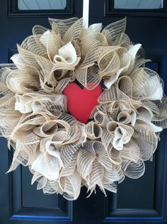 Ruffled Deco Mesh Valentine / Vday Wreath/ Love by jennyCmoon, $50.00