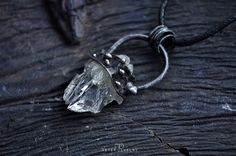 Aðalbjörg, pendant with a rough transparent quartz crystal. by Vitek Jewelry
