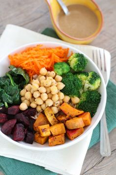Chickpea & Roasted Veggie Brown Rice Barley Bowl with Tahini Dressing