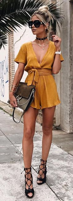 #summer #outfits Mustard Pleated Playsuit + Black Open Toe Pumps