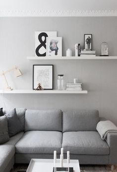 living room details, grey walls, from createcph. living room details, grey walls, from createcph. Shelves Above Couch, Living Room Shelves, Living Room Wall Decor Ideas Above Couch, White Wall Shelves, Decorative Wall Shelves, Sofa Shelf, Gallery Wall Shelves, Ikea Wall Shelves, Decorative Fireplace