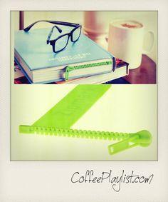 kahve içerken kitap okuyanlar… Fermuar kitap ayracı, tasarım  Peleg Design. http://www.coffeeplaylist.com/post/35984796998/fermuar-kitap-ayraci-coffeeplaylist-kahve-muzik