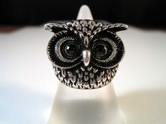 Silver Chunky Owl Ring