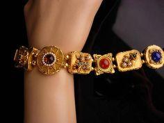Vintage Victorian bracelet / Edwardian style / turquoise garnet / renaissance revival / Vintage costume jewelry / gold plate art bracelet - July 06 2019 at Sterling Silver Jewelry, Antique Jewelry, Gold Jewelry, Vintage Jewelry, Jewelry Rings, Silver Rings, Quartz Jewelry, Rhinestone Jewelry, Jewelry Holder