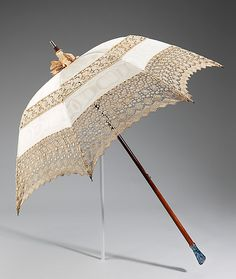 """1915 parasol, moiré silk and cotton lace. """"This parasol is beautiful and of the highest quality, as great attention was paid to every detail. Sun Umbrella, Under My Umbrella, Vintage Accessories, Women Accessories, Gail Carriger, Vintage Umbrella, Umbrellas Parasols, Blue Ties, Belle Epoque"""