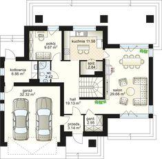 House design Verona 153.16 m² - Domowe Klimaty Duplex House Plans, Best House Plans, Modern House Plans, Verona, 4 Bedroom House Designs, Front Elevation Designs, House Entrance, Architecture Plan, Ground Floor