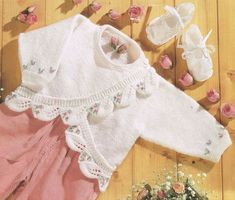 Baby embroidery and leaf cardigan vintage knitting pattern PDF
