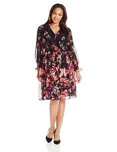 Fashion Womens Plus Size Long Sleeve V Neck Printed #Dress www.fashionbug.us #PlusSize #FashionBug