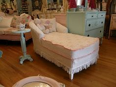chenile slipcovered pieces and vintage chic furniture