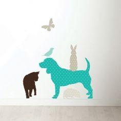 Wandtattoo Punktetiere Hund türkis Set 6-teilig