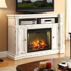 Legends Furniture 58-in W 4,600-BTU Rustic White Wood Fan-Forced Electric Fireplace with Thermostat and Remote Control