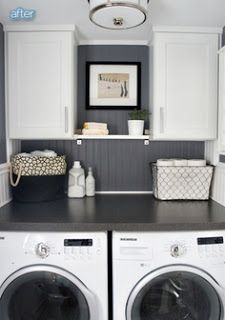 Awesome Laundry Room Idea... Lose the pedestal and build a shelf