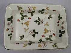 """Wedgwood Wild Strawberry Baking Pan/Bowl/Tray, 6½"""" x 4-3/4"""" x 1½"""" deep. c1977-1986. $19.50 ea, 3 available at vintagetabletop on ebay, 5/14/16"""