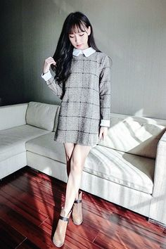 Peter Pan Collar Check Shift Dress