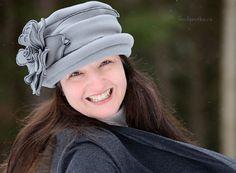 Ladies Flapper Fleece Hat Grey Polar Fleece by hatjunkie on Etsy, $160.00
