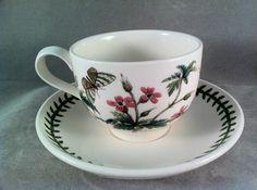 PORTMEIRION Botanic Garden Made in England Tea Cup & Saucer ~ White Campion ~NWT