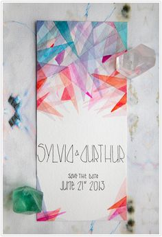 Browse unique wedding invitation ideas for modern brides   Geometric Watercolor Save the Date Invites by @camillestyles