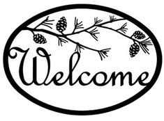 Our decorative wrought iron Pinecone Welcome Sign features a durable baked on powder coat finish for years of great looks. Wrought iron decor fits well in a variety of settings from rustic to contemporary. Wood Burning Crafts, Wood Burning Patterns, Silhouette Cameo Projects, Silhouette Design, Vinyl Crafts, Wood Crafts, Wrought Iron Decor, Decoupage, Diy Signs