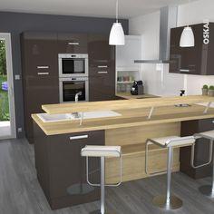 cuisine taupe en u avec bar surlev plan de travail dcor chne naturel meuble - Cuisine Taupe Claire Et Mur Eb