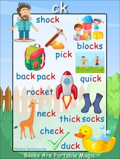 ck Phonics Poster - a FREE PRINTABLE poster for auditory discrimination, sound studies, vocabulary and classroom reference.