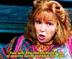 """Your sons flew that enchanted car of yours to Surrey and back last night. Harry Potter Movie Trivia, Harry Potter Hermione, Harry Potter Outfits, Harry Potter Love, Harry Potter Memes, Harry Potter World, Julie Walters, Fandom Quotes, Lily Potter"