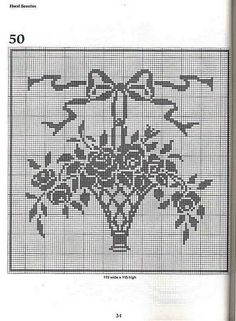 flower basket filet crochet pattern