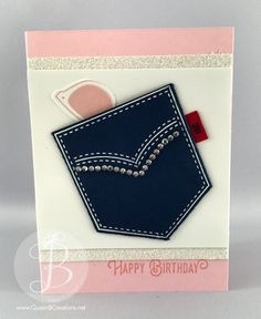 handmade birthday card featuring Pocket Full of Sunshine ... pink and white with navy ... glitzed up die cut pocket with gems ...card by Queen B Creations