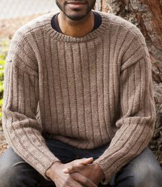 Free Knitting Pattern for 2-Row Repeat Garter Rib Men's Sweater - Long-sleeved pullover sweater knit with a two-row repeat in worsted weight yarn.  Sizes S, M, L, XL, 2XL. Designed by Melissa Leapman for Cascade Yarns.