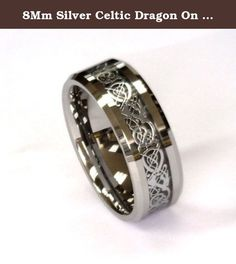 8Mm Silver Celtic Dragon On Black Carbon Fiber Tungsten Carbide Band CJTU267-11. Tungsten Carbide High Polished rings are the newest trends in wedding bands. They are hardest of any known metal. They are high polished to a perfect mirror finish using high tech diamonds polishing and unlike other metals will retain the exact polish for many decades to come. Tungsten is about 20 time harder than 18K gold and 6 time harder than Tool Steel and 5 time harder than Titanium. Corrosion resistance.