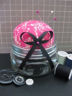 Items similar to Pin Cushion Made From A Mason Jar on Etsy Glass Jars, Mason Jars, Cushion Tutorial, Child Smile, Sewing Notions, Pin Cushions, Pretty In Pink, Football Helmets, Sewing Projects