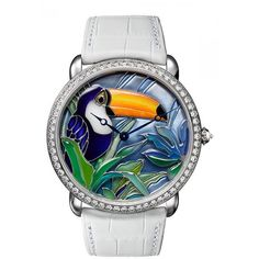 Cartier d'Art Mother of Pearl Toucan Motif Dial Ladies Watch ($94,400) ❤ liked on Polyvore featuring jewelry, watches, mother of pearl watches, cartier watches, cartier wrist watch, cartier jewelry and analog watches